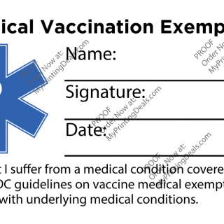 Get your Medical Vaccination Exemption Card today at MyPrintingDeals.com